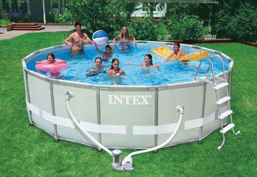 Pool Angebot U2013 Intex Aufstellpool Frame Pool Set Ultra Rondo, Grau, Ø 488 X  122 Cm
